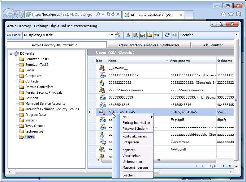 ADOplusWeb - Web based user management Software for Active Directory, Exchange 2013/2010 and Lync 2013/2010. Main features: Edit user, groups, contacts, mailbox permissions, delegates, Bulk changes, PST-Import/Export, Lync properties, SIP addresses